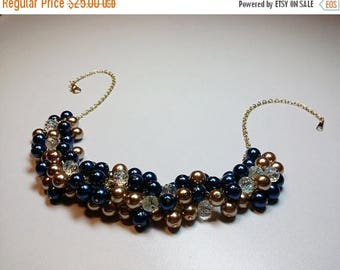30% OFF SALE thru 5-31 Blue and Gold Pearl and Crystal Cluster Necklace, Christmas Mothers Day Gift, Wedding Bridesmaid Mom Sister Grandmoth