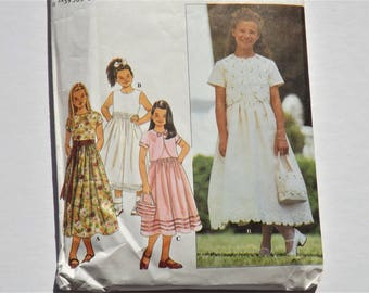 Girls Special Occasion Dress Pattern: Flower Girl Dress Pattern, Dress with Bolero Jacket, Purse, Simplicity 8546