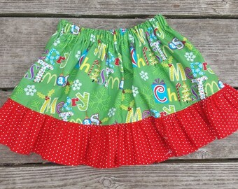 SALE - Green and Red Christmas Ruffle Skirt - Size 3T