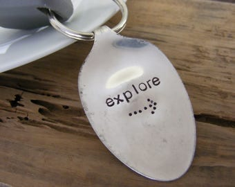Hand Stamped Spoon Keychain Spoon Key Chain