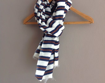 Scarves Wraps/ Cotton Wool Scarf- Men Women Navy & Cognac Stripe Scarf- Dark Blue White Stripe Handwoven Ethiopian scarf- Accessories