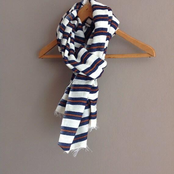 Scarves Wraps/ Cotton Wool Scarf- Men Women Navy & Cognac Stripe Scarf- Dark Blue White Stripe Handwoven Ethiopian scarf- Accessories