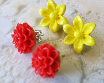 Flower Earrings Studs Red Mum Flower Earrings Studs Yellow Studs Mother's Day Gift Bridal Jewelry Red Earrings Bridesmaid Gift Weddings