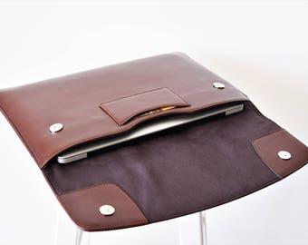Laptop cases 13 inch - Leather laptop sleeve - Laptop briefcase - Monogram mens laptop bag - Laptop cover macbook pro - Leather laptop bag
