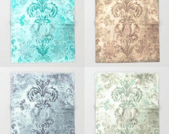 Grunge Damask Throw Blanket, Light, Romantic, Chic, Victorian, Antique, turquoise, slate blue, duck egg, coffee, customizable