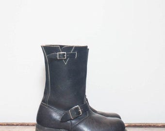 SALE 8 Wide | Men's Vintage Engineer Boots Black Leather Motorcycle Boots with Steel Toes