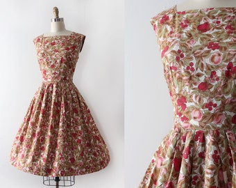 vintage 1950s dress // 1950s novelty fruit dress