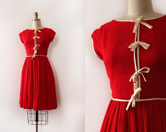 vintage 1950s dress // 50s red chiffon dress with bows