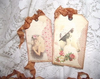 French Young Lady Gift Tags With Distress Edges Adorned With Seam Binding Ribbon