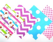 Quilt Square Grab Bag Clearance 50 Flannel Fabric Pre Cut Squares in Bright Baby Ducks, Chevron and Dot Matching Prints