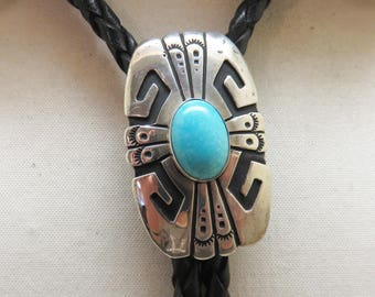Navajo, Turquoise and Sterling Bolo Tie, Tommy Singer Signed Bolo Tie, Kingman Turquoise Bolo Tie