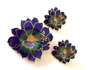 Deep Blue and Green Cloisonné Enamel Pierced Earrings and Brooch Set