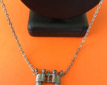 Cast Pewter Binoculars Pendant Necklace