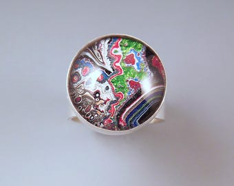 Fordite- Detroit Agate- Brilliant Sparkle- Metallic Shimmering Colors- Michigan Made- Hammered Sterling Silver Ring