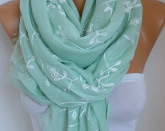 Mint Cotton Embroidered Scarf, Soft, Shawl Spring Summer Scarf,Pareo Cowl Gift For Her Women Fashion Accessories,Beach Wrap,Birthday Gift