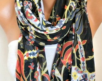 ON SALE --- Black Tulip Cotton Scarf ,Summer Fashion,Soft, Shawl, Cowl, Oversized Wrap, Gift Ideas For Her, Women Fashion Women Scarves Brid