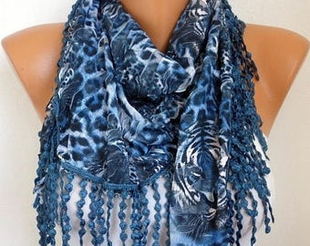 ON SALE --- Blue Leopard Print Scarf, Summer Fashion, Easter Animal Scarf Cowl Scarf Gift Ideas For Her Women Fashion Accessories