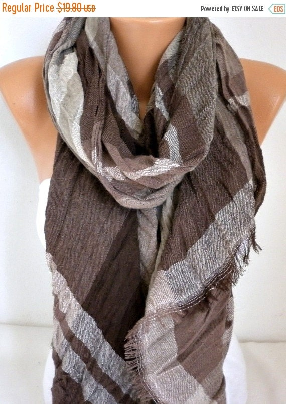 ON SALE - Earth Tones - Brown Cotton Tartan Scarf,Unisex,Plaid Shawl, Cowl Men Gift For Her For Him Women Fashion Accessories,Birthday Gift