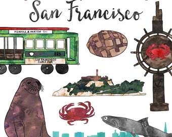 San Francisco City Clip Art, Watercolor SF Clip Art, Commercial Use