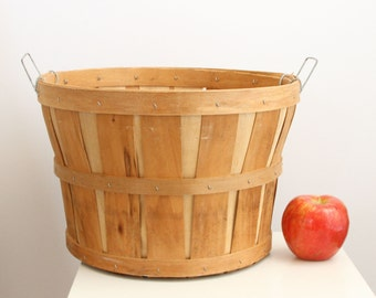 Large Split Wood Bushel Basket Metal Handles Vintage