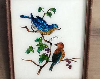 Vintage Blue Bird Painting / Glass Painting /  Paint on Foil Art / Bird Painting in Antique Frame