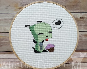 Invader Zim - Gir with Cupcake Cross Stitched Hoop Art