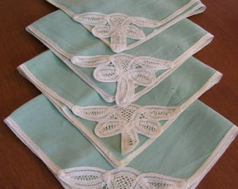 Set of Eight Vintage Linen Dinner Napkins with Battenburg Trim-15x15 inches