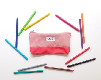 Pencil Case / Red + Pink Toiletry Pouch / Zipper Cosmetic Bag / Earth Friendly Makeup bag / Eco-Friendly School Supplies Case / 3 Ptice