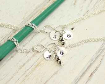 Sterling Silver Set Of Two... Two Peas In A Pod Bracelet with Personalized Initials