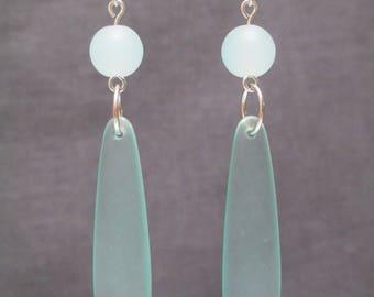 Sea Glass Drop Earrings ~ Bridesmaid Earrings ~ Seafoam Seaglass Earrings ~ Aqua Beach Earrings ~ Coastal Jewelry ~ Beach Wedding Earrings