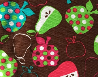 One yard Fun Folk Apples & Pears brown green blue pink