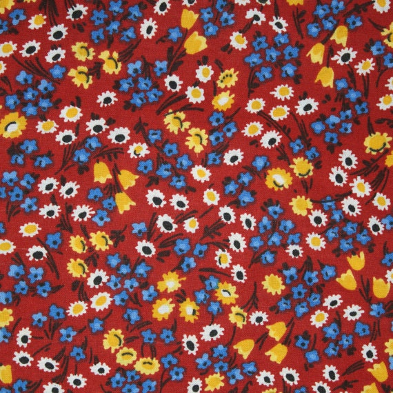 Flower fabric,Floral fabric,Rust flower fabric,Calico cotton fabric,100% cotton fabric,Quilt,Apparel,Craft,Sold by FAT QUARTER INCREMENTS