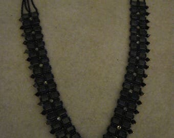 Swarvoski and Tile V Collar Style Necklace......one of a kind.1365h