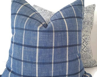 Blue Plaid Pillow - Navy Blue Pillow - Chambray Blue Couch Pillow - Nautical Pillow - Navy Toss Pillow - Blue Pillow - PILLOW COVER ONLY