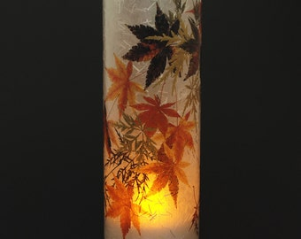 Japanese Maples candle cover (large size) with 1 free Electric Tea Light.  Patio lighting.  Outdoor decor.  Fall wedding decoration.