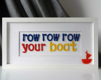 Row, Row, Row Your Boat Nursery Rhyme Art, Nursery Decor, Nursery Wall Art, Nursery Rhyme Wall Art, Baby Room Wall Art, Baby Room Decoration