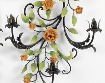 Pair vintage toleware wall sconces / Wrought iron wall sconces / Metal wall sconces pair / Metal floral wall candleholders