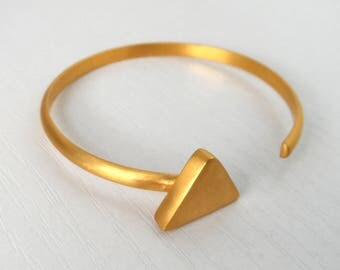 Gold Plated Lower Arm Bracelet, Brass Lower Arm Cuff, Modern Lower Arm Cuff, Lower Arm Bracelet with Triangle Element