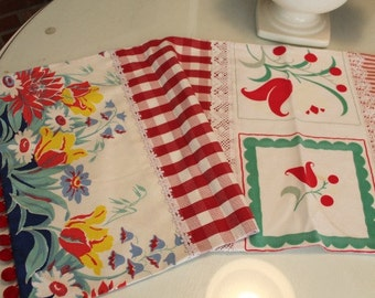 Beautiful Table Run in Reds Made With Vintage Tablecloths