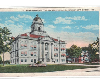 "Michigan, Vintage Postcard, ""Shiwassee County Court House and Jail, Corruna Near Owosso, Mich,.""  1920, #1078."