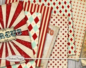 Vintage Circus Paper Pack printable 8.5 x 11 inch stars paper crafting scrapbooking instant download digital collage sheet - VDPACI1543