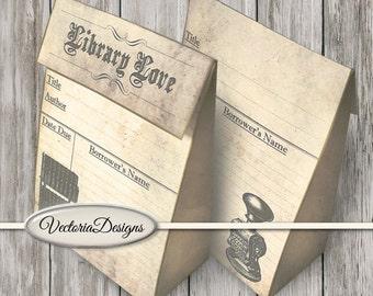 Library Favor Bag printable paper crafting library card scrapbooking digital download instant download digital collage sheet - VDFBVI1439