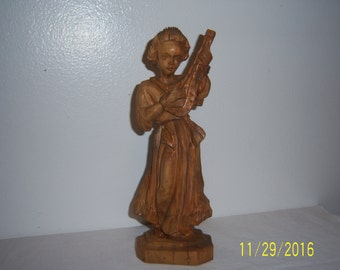 Vintage Wooden Hand Carved Angel Cherub - Handcrafted Angel - Christmas Decoration - Holiday Decor - Anri - Sculpture - Playing Wood Girl