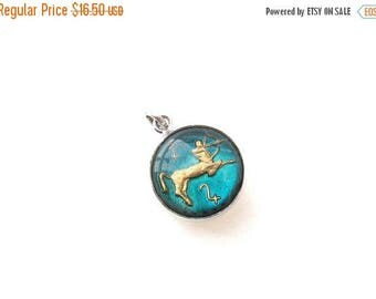 ON SALE Sagittarius Bubble Glass Charm in Sterling Silver Setting - Vintage Zodiac Jewelry