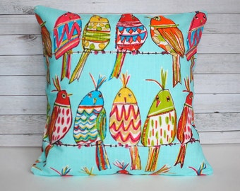Turquoise blue bird decorative throw pillow. Single cover for 18x18 or 20x20 size. Colorful bird pillow playroom pillow funky nursery decor
