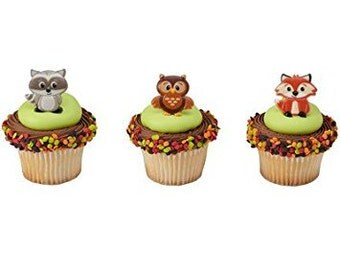 24 Woodland Animals Cupcake Cake Rings Birthday Party Favors Cake Toppers