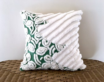 green tree pillow cover SNOWSTORM green chenille cushion cover 14 X 14 winter Christmas evergreen tree white snowflakes