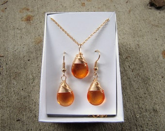 Amber colored Earrings gold earrings OR Gold necklace wire wrapped earrings  glass tear drop, gold,