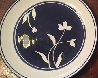"""Dansk plate 9"""" Blue and white flower salad plate luncheon plate floral pattern Dansk plate Dansk china cobalt blue heavy duty everyday use"""