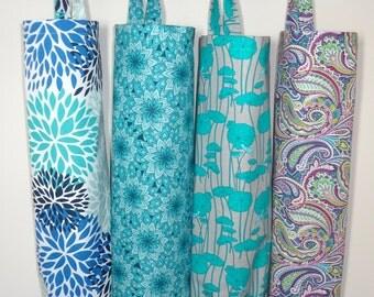 Plastic Bag Holder Grocery Bag Storage Kitchen Bag Storage Teal Blue Paisley Floral Mum Blooms Storage Bag Holder